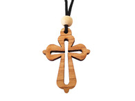 Olive Wood Cross W/Cord 1.6 inches in Height