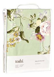 Cot Sheet Set Woven Floral Mint