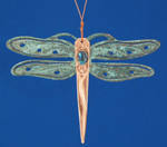 """Dragonfly Copper Ornament, 4 1/8"""", Made in USA #DD3729"""