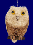 "Buri Bristle Woodland Bird Owl Ornament, 4"", #JWKA4241"