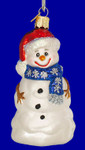 Happy Snowman Old World Christmas Glass Ornament 24053