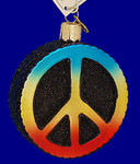 "Peace Sign Glass Ornament, 3 1/8"", OWC #36152"