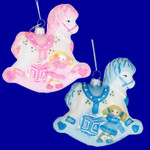 "Pink or Blue Rocking Horse Baby Ornament, Glass, 3 1/4"", #KANB0623"
