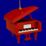 "Mini Grand Piano Ornament - Wood, 3 1/8"" - Red #BG5288"
