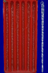 "Twisted Glass Icicle Ornaments, 7 1/2 inch, 6 pc Set, 7 1/2"", KAB1813"