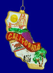"State of California Ornament, Glass, 5 1/2"", #KAT0738"