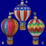 Hot Air Balloon Glas Ornament by Old World Christmas 36056