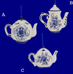 "Blue and White Porcelain Teapot Ornaments, 2 1/8 - 2 3/4"", #KAJ0935"