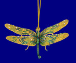 "Cloisonne Dragonfly Ornament, Gift - Green, Yellow, 3"" wingspan, #KU7453"