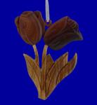 "Tulip Intarsia Wood Ornament, 3 1/8"", #HCORN1058"