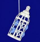"Baby Bottle - Baby Boy Ornament - Silver Plated with Crystals, 3 3/8"", #CYSC0153B"