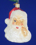 "Night Before Christmas Santa Head Glass Ornament, 4"", OWC #40166"