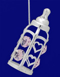 "Baby Bottle - Baby Girl Ornament - Silver Plated with Crystals, 3 3/8"", #CYSC0153G"