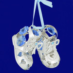 "Baby Shoes - Baby Boy Ornament - Silver Plated with Crystals, 1 1/4"" x 2"", #CYSC0177B"