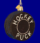 Hockey Puck Old World Christmas Glass Ornament 44048