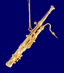 "Mini Bassoon Ornament - Gold Metal, 3 1/4"" Small #HI569"