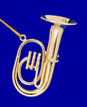 "Mini Baritone Tuba Ornament - Gold Metal, 2"" Small #HI560"