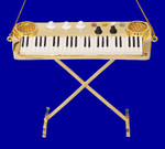 "Mini Keyboard Ornament w/legs - 3 x 3 7/8"" - Gold Brass #HI597"