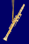 "Mini Clarinet Ornament - Gold Metal, 3 1/8"" Small #HI561"