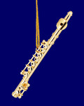 """Mini Flute Ornament - Gold Metal, 3"""" Small #HI562"""