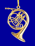 "Mini French Horn Ornament - Gold Metal, 1 1/2"" Small #HI564"