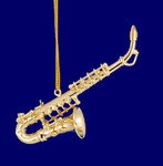 "Mini Alto Saxophone Ornament - Gold Metal, 3 1/4"" Small #HI565"