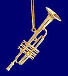 "Mini Trumpet Ornament - Gold Metal, 2 1/2"" Small #HI568"