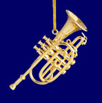 "Mini Cornet Ornament - Gold Metal, 2 1/2"" Small #HI570"