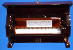 "Mini Upright Piano Ornament - Wood, 2 1/2"" x 3 5/8"" Brown #HI596"