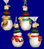 Mini Snowy Snowman Old World Christmas Glass Ornament 24051 inset