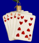 """Poker Royal Flush Glass Ornament, 3 1/2"""", OWC #44035"""