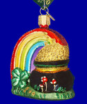 "Irish Rainbow Pot of Gold Glass Ornament, 3 1/4"", OWC #36036"