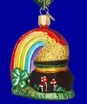 Irish Rainbow Pot of Gold Old World Christmas Glass Ornament 36036