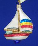 "Sailboat Glass Ornament, 4 1/4"", OWC #46028"