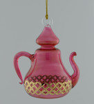 "24k Gold Etched Egyptian Glass Teapot Ornament - Red, 4"", #EM7929"