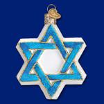 """Star Of David Glass Ornament, 3 1/2"""", OWC #22033"""