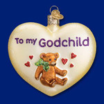 "Heart for Godchild Glass Ornament, 3 1/2"", OWC #30045"