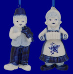 Delft Style Blue, White Dutch Musician Boy or Girl Ornament