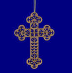 Laser Cut Wood Catholic Cross Ornament