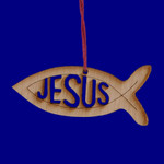 Mini Laser Cut Wood Jesus Fish Ornament