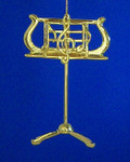 "Mini Music Stand Ornament - Gold Metal - Designer Style, 3 1/2"" tall #BG2341"