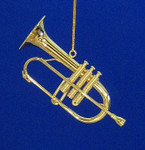 "Mini Flugelhorn Ornament - Gold Metal, 3 1/2"" Medium #BG2327"