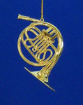 French Horn Ornament  Mini French Horn 3.75 Gold Metal Large