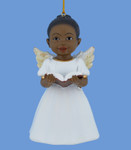 Singing African American Little Girl Angel Ornament