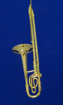 Trombone Ornament Mini Trombone 5.625 Gold Metal Large