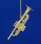 "Mini Trumpet Ornament - Gold Metal, 3 1/2"" Medium #BG2315"
