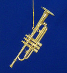 "Mini Trumpet Ornament - Gold Metal, 4 3/4"" Large #BG2314"