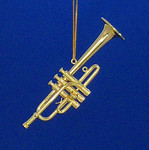 "Mini Piccolo Trumpet Ornament - Gold Metal, 3 3/4"" Medium #BG2326"