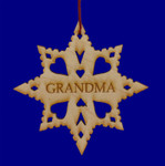 Laser Wood Snowflake Grandma Ornament