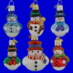 Mini Snowman Old World Christmas Glass Oranments Set of 6  14022